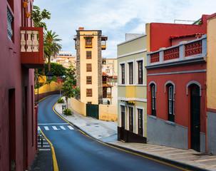 Colourful houses in Puerto de la Cruz, Tenerife, Canary Islands.