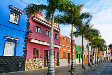 Colourful houses and palm trees on street in Puerto de la Cruz, Tenerife, Canary Islands.