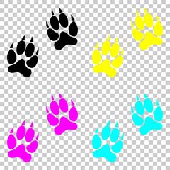 animal tracks icon. Colored set of cmyk icons on transparent background.