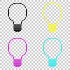 Light lamp icon. Colored set of cmyk icons on transparent background.