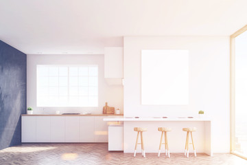 Kitchen countertop and poster, toned