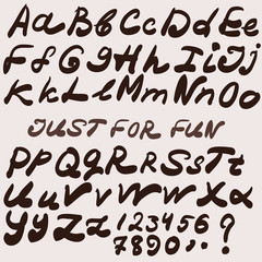 Handwriting brush font. Vector alphabet