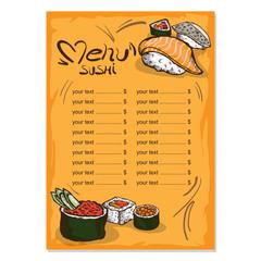 menu japanese food drawing graphic  design template