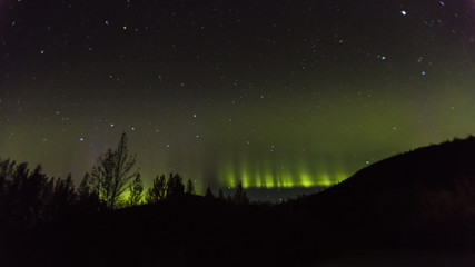 AUGUST 30, 2016 - Aurora Borealis or Northern Lights illuminate the night sky from Kantishna, Alaska - Mnt. Denali National Park