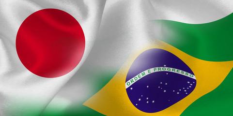 日本 ブラジル  国旗 背景