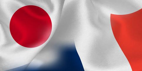 日本 フランス  国旗 背景
