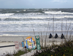 St. Pete Beach Florida January 2017: A beach sign is blown down by a strong wind storm on St. Pete Beach Florida.