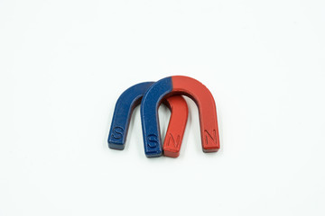 double magnet blue and red on isolate - can use to display or montage on product