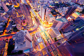 Bangkok business district abstract photography.
