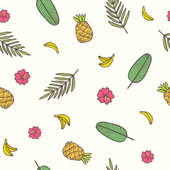 Tropical background. Leaves, bananas pineapples flowers. Vector hand drawn seamless pattern