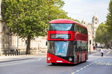 Aluminium Prints London red bus Modern red double decker bus, London