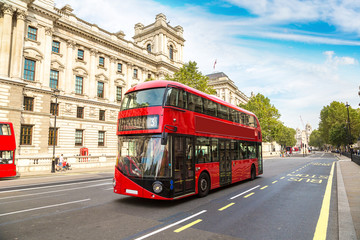 Poster London red bus Modern red double decker bus, London