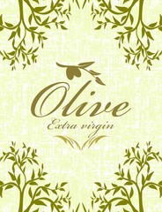 Olive grunge abstract background with leaves