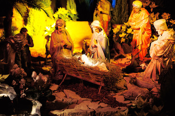 Nativity scene with statues