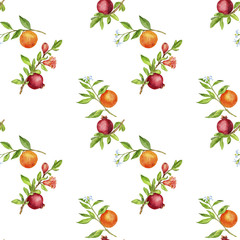 seamless pattern with pomegranates and oranges