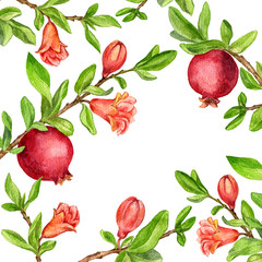 template with fruit tree branches, leaves,flower and pomegranates