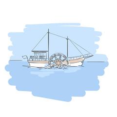 Paddle steamer, steamship or riverboat.