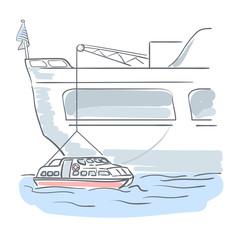 Descent of lifeboat. Sea illustration.