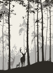 silhouette of a pine forest with a family of deer and birds, brown colors, vector illustration