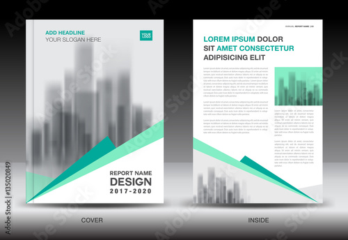 Annual Report Brochure Flyer Template Green Cover Design - Company profile brochure template