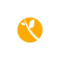 Eco Leaf on Circle Icon Logo Vector