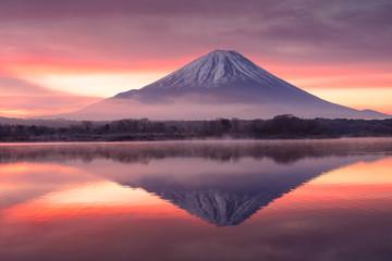 朝靄の富士山