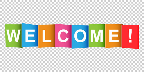 Welcome tag. Market message. Flat vector illustration on white background