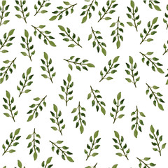 Cute simple pattern with green leaves. Watercolor Botanical pattern. Seamless floral pattern for textile, gift packaging, Wallpaper, scrapbooking, and book covers. Green leaves on a white background.