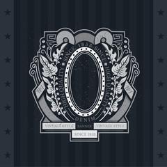 Oval frame with leaf wreath, ribbon and line pattern. Heraldic vintage label on blackboard