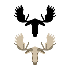 Moose head vector illustration style Flat