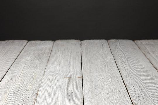 Painted White Wood Planks Dark Gray Background