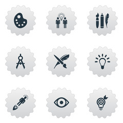 Set Of 9 Simple Visual Art Icons. Can Be Found Such Elements As Dividers, Project Aim, Brush And Other.