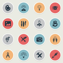 Set Of 16 Simple Visual Art Icons. Can Be Found Such Elements As Leader, Performance, Leadership And Other.