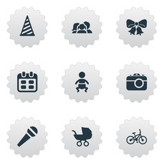 Set Of 9 Simple Celebration Icons. Can Be Found Such Elements As Resonate, Speech, Cap And Other.