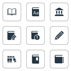 Set Of 9 Simple Knowledge Icons. Can Be Found Such Elements As Library, Important Reading, Book Cover And Other.