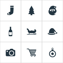 Set Of 9 Simple Celebration Icons. Can Be Found Such Elements As Drink Bottle, Christmas Character, Basket And Other.