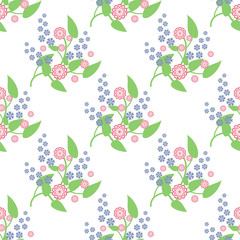 Vector seamless pattern. Abstract flowers background for textile, wallpaper, print, manufacturing.