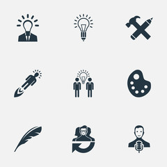 Set Of 9 Simple Creative Thinking Icons. Can Be Found Such Elements As Leader, Lightbulb, Leadership And Other.
