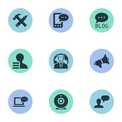 Set Of 9 Simple User Icons. Can Be Found Such Elements As Repair, E-Letter, Loudspeaker And Other.
