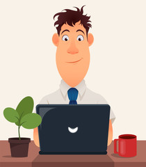 Business man entrepreneur working on a laptop computer at his office desk. Cute cartoon character. Modern color vector illustration.