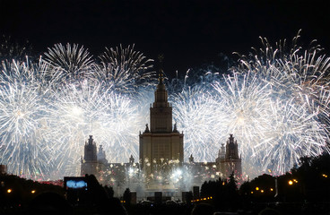 Fireworks over the building