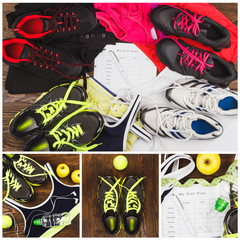 Sneakers, different sports clothes and equipment