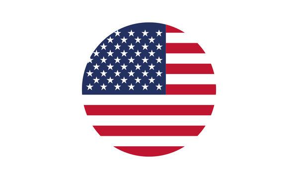 Vector - America Flag Circle Flat Design - Vektor Amerika Fahne Kreis flach - Icon, Symbol, Pictogram