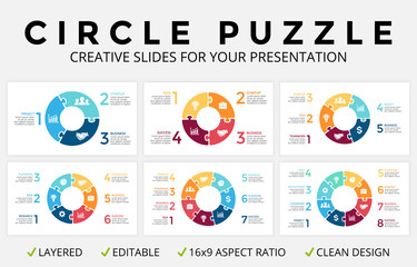 Vector circle arrows infographic, cycle diagram, puzzle jigsaw graph, 16x9 slide presentation pie chart. Business concept template with 3, 4, 5, 6, 7, 8 options, parts, step, process. Clean and simple
