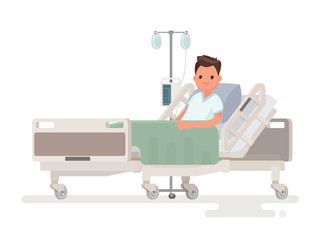 Hospitalization of the patient. A sick person is in a medical be