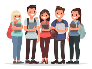 People and Education. Group of happy students with books on an i