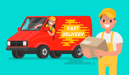 Service fast delivery. Illustration in a flat style for mobile a
