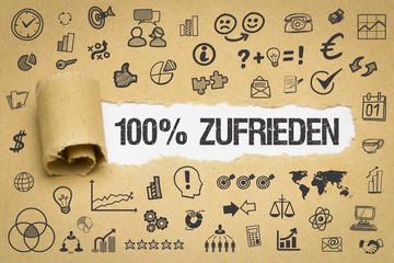 100% Zufrieden / Papier mit Symbole