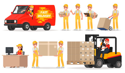 Set of service delivery. Staff: operator, driver, courier, loade