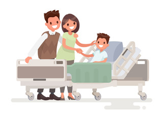 Visit of visitors to the patient to the hospital. Parents with s